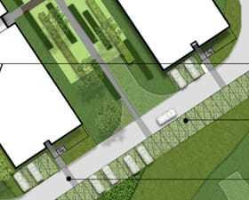 Koncepcja zagospodarowanie terenu wokół budynków hotelowych przy ulicy Św. Urszuli Ledóchowskiej w Warszawie